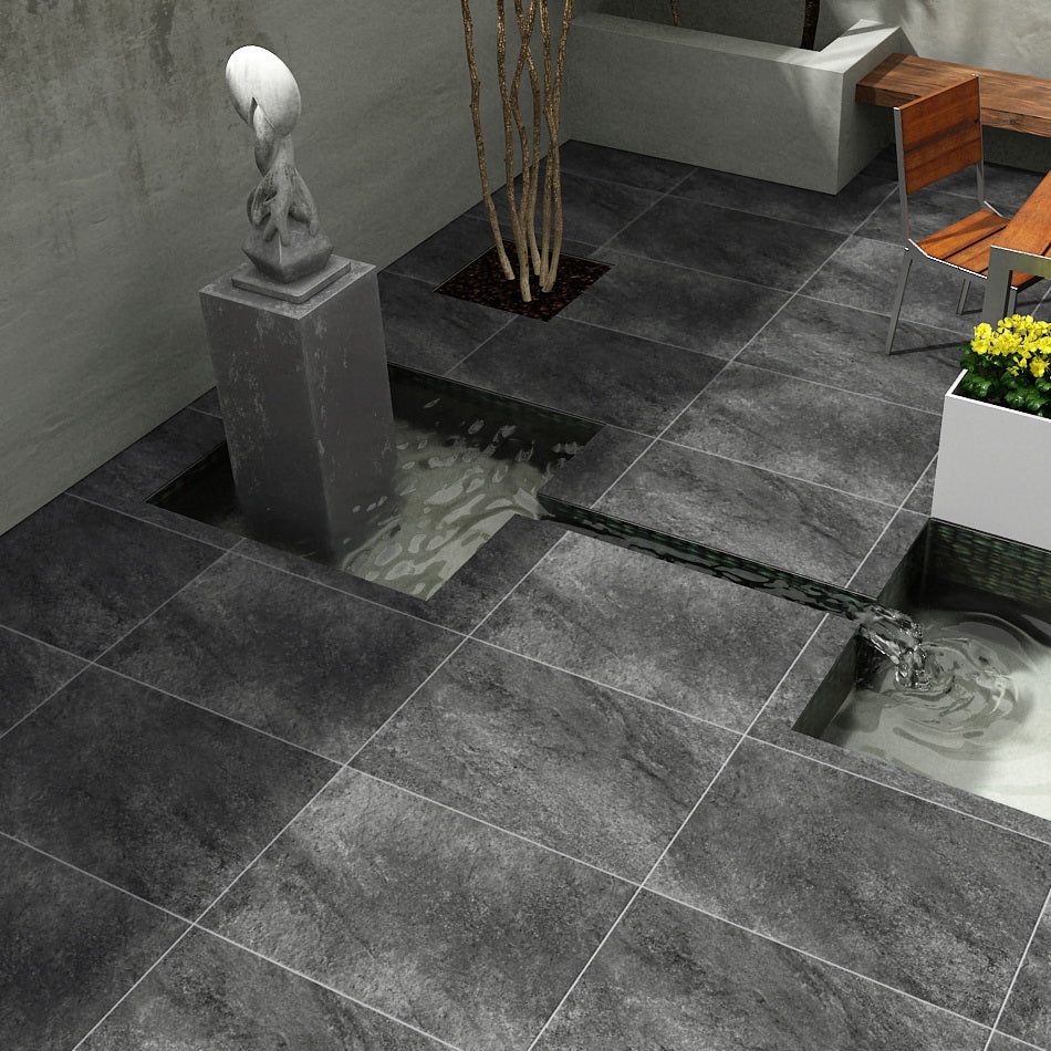 Porcelain Paving Hammerstone Black 600x600x20mm £23.99/m2