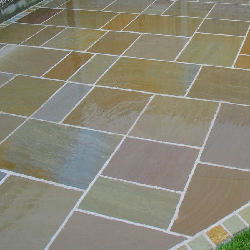 Raj Green Indian Sandstone Paving Slabs, 22mm Calibrated 900x600 £18.54/m2