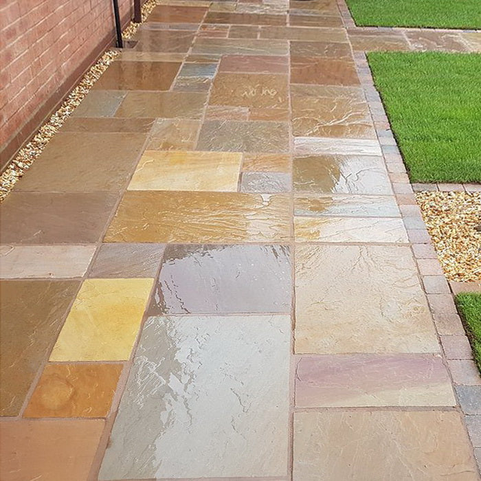 Rippon Buff Indian Sandstone Paving Slabs 900x600 22mm Cal. £20.19/m2