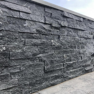 Black Sparkle Quartz Split Face Tiles, Stone Cladding Panels 550x150 £26.99/m2