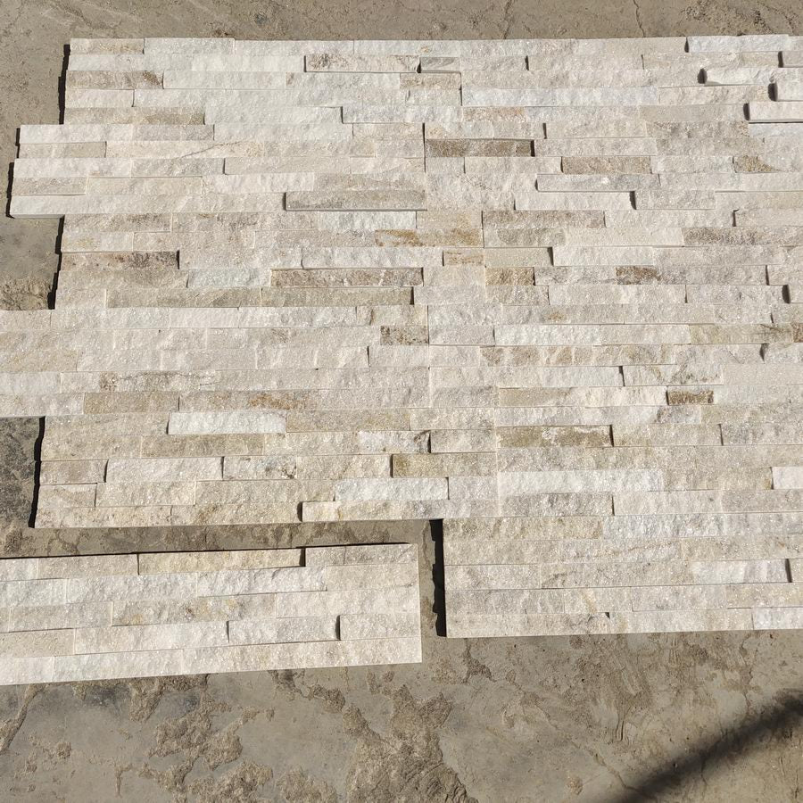 Stone Cladding, Cream Sparkle Quartz, Split Face Tiles 600x150 £24.79/m2