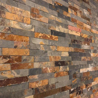 Stone Wall Cladding, Rusty Multicolor, Split Face Tiles, 360x100