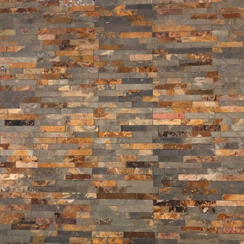 Stone Cladding, Wall Cladding, Rusty Multicolor Slate Cladding, 360x100