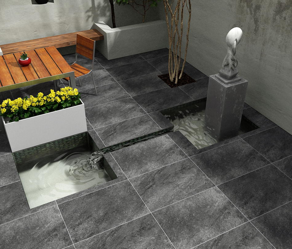 Porcelain Paving Hammerstone Black 900x600x20mm £26.99/m2
