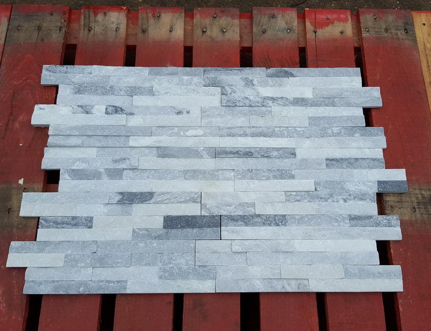 Stone Cladding, Wall Cladding, White Grey Quartz Cladding, 360x100