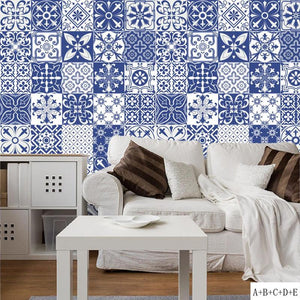 DIY Wall Tiles Stickers Mediterranean Style PVC Waterproof Bathroom Kitchen Tile Stickers for Home Decor Wall Poster
