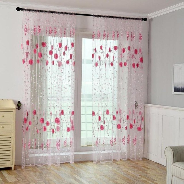 Floral Printed Window Door Curtains for Living Room Bedroom Kids Baby Room Kitchen Home Decorative Curtains Drapes