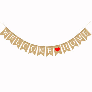 2.8M WELCOME HOME Banner Swallowtail Flags Burlap Banner for Home Decoration Family Party
