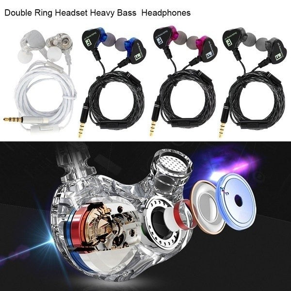 In Ear Headphones Double Ring Dual Driver Speaker Heavy Bass Noise Isolation Hi-Fi 3.5Mm Stereo In-Ear Earbuds Dj Field Headset Sport Gym Running Headphones Tangle-Free Durable Wired Cord With Microphone Volume Controls