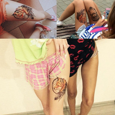 Hot Fox and Feather Cool Beauty Tattoo Waterproof Temporary Tattoo