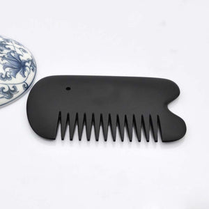 Black Bian Stone Guasha Comb Energy Gua Sha Board Acupuncture Massage Relaxation No Static Health Care Hair Brush Beauty Tool