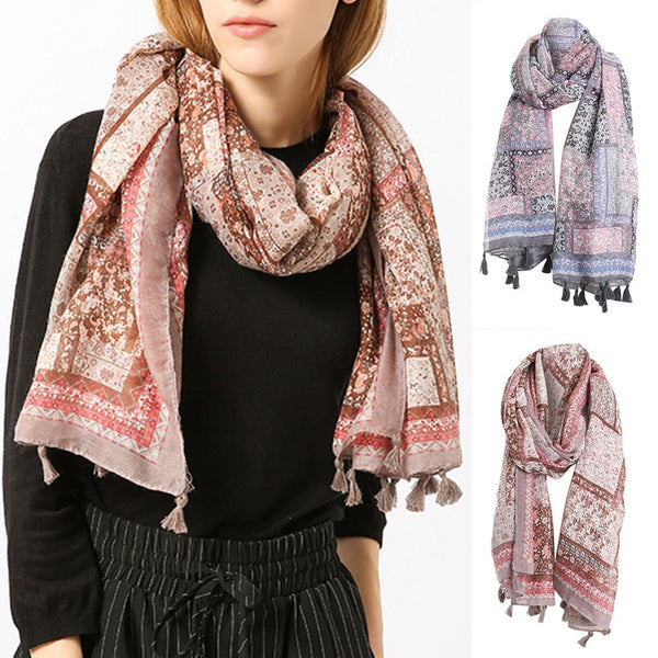 Women Fashion Beautiful Embroidered Cotton Linen Floral Wrap Shawls Scarves