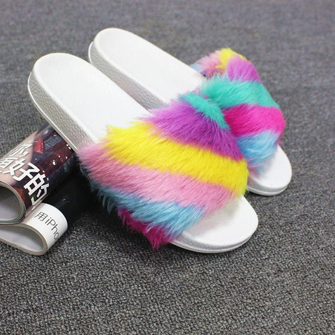 Home Rainbow Plush Slippers(36.37.38.39.40)