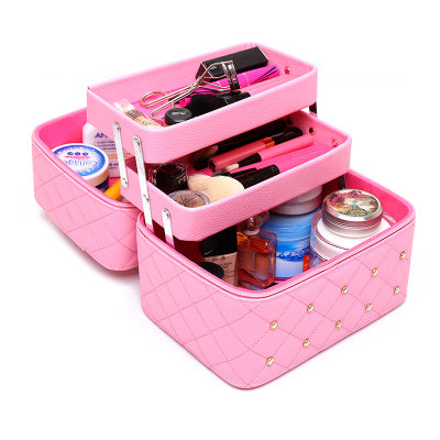 Large Capacity Diamond Pattern Makeup Case