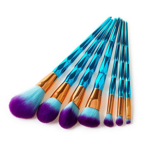 Blue Crystal Makeup Brush Set