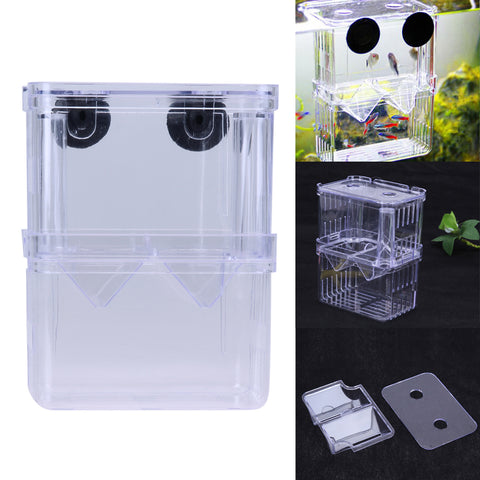 S/L Clear Acrylic Fish Breeding Box Aquarium Breeder Box Double Guppies Hatching Incubator Isolation Aquarium Pet Supplies