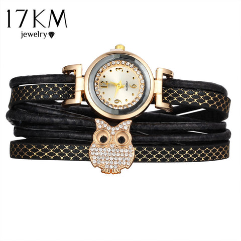 17KM Fashion Owl Multilayer Crystal Leather Bracelets for Women Watch Bracelet & Bangles Female Vintage Pulseras Ethnic Jewelry