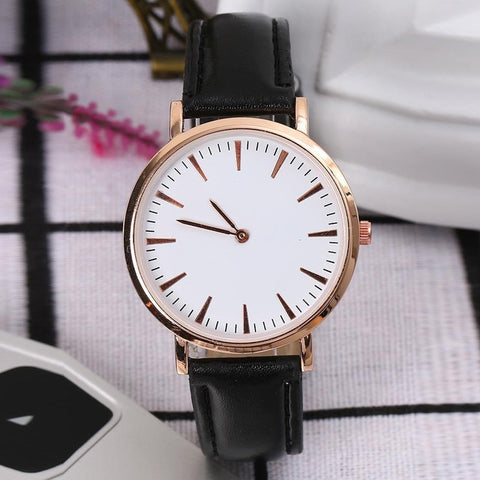 Stainless Analog Leather 0 Pin Wrist Women Synthetic 8cm Watch Steel 1 7inch Round Quartz Buckle Dial Large Fashion