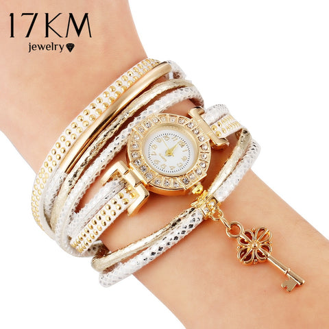 17KM Fashion Lock Crystal Watch Bracelet Multilayer Bracelet For Women Charm Bracelets & Bangles Vintage Pulseras Femme Jewelry