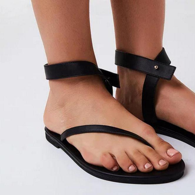 c13083cb016 Black Sandals Flip Flops Ankle Wrap Shoes – chicnava
