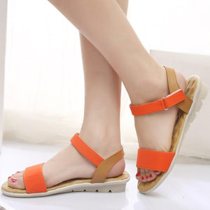 9ccf6d33131a Plain Low Heeled Ankle Strap Peep Toe Casual Sandals