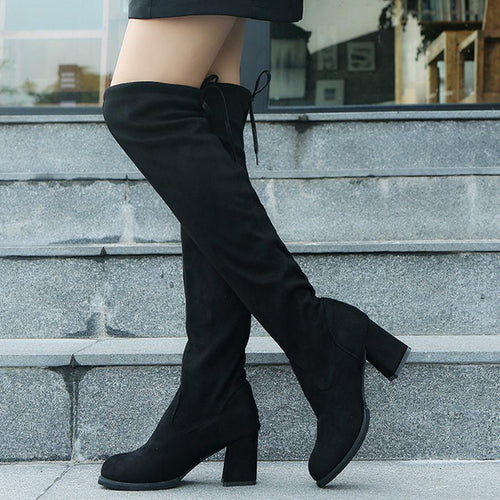 03726cad6911 Plain Chunky High Heeled Velvet Round Toe Date Outdoor Thigh High High Heels  Boots