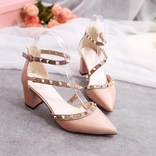 2bfb1bd76397 Fashion Rivets Sandals Comfortable High Heels Shoes