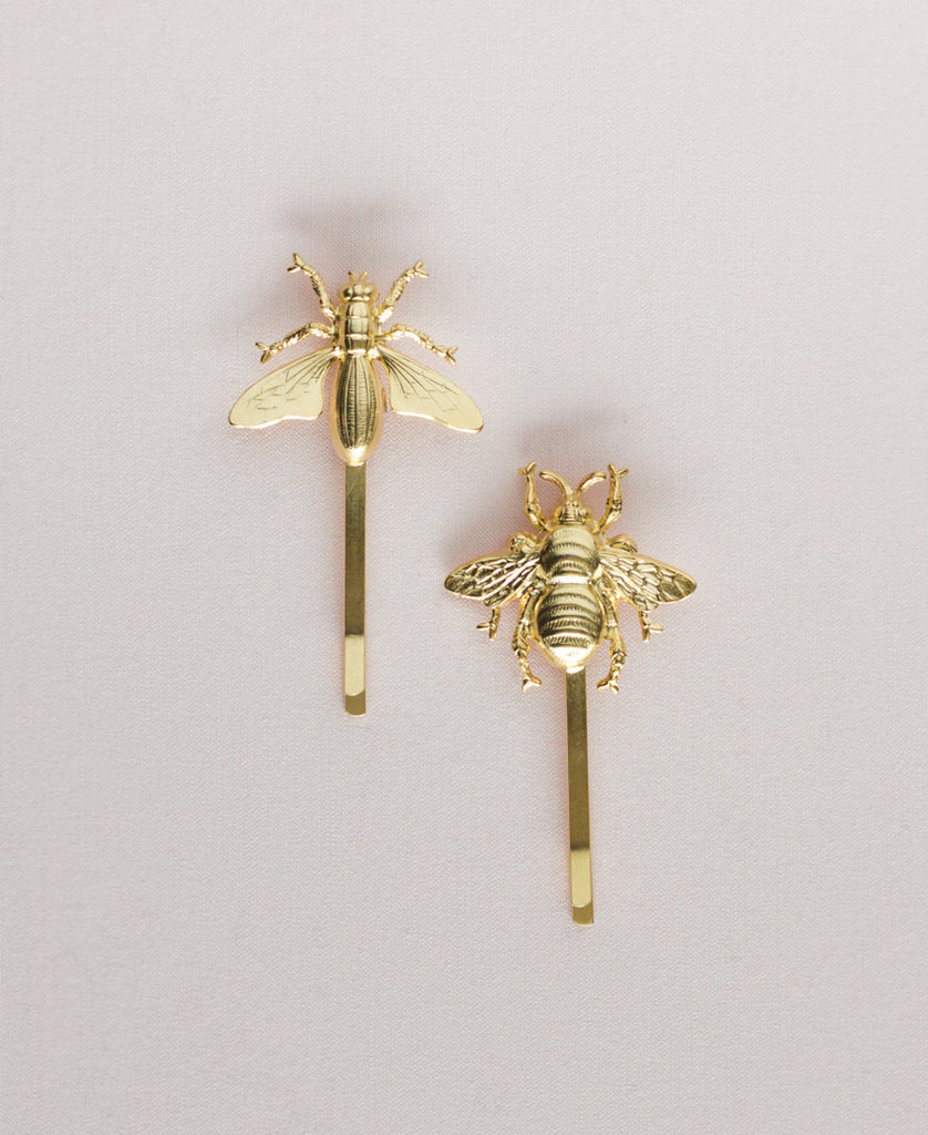 Pair of Bees Barrettes