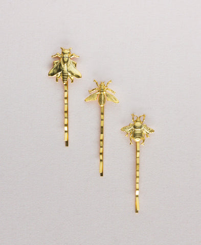 Trio of Bees Bobby Pins