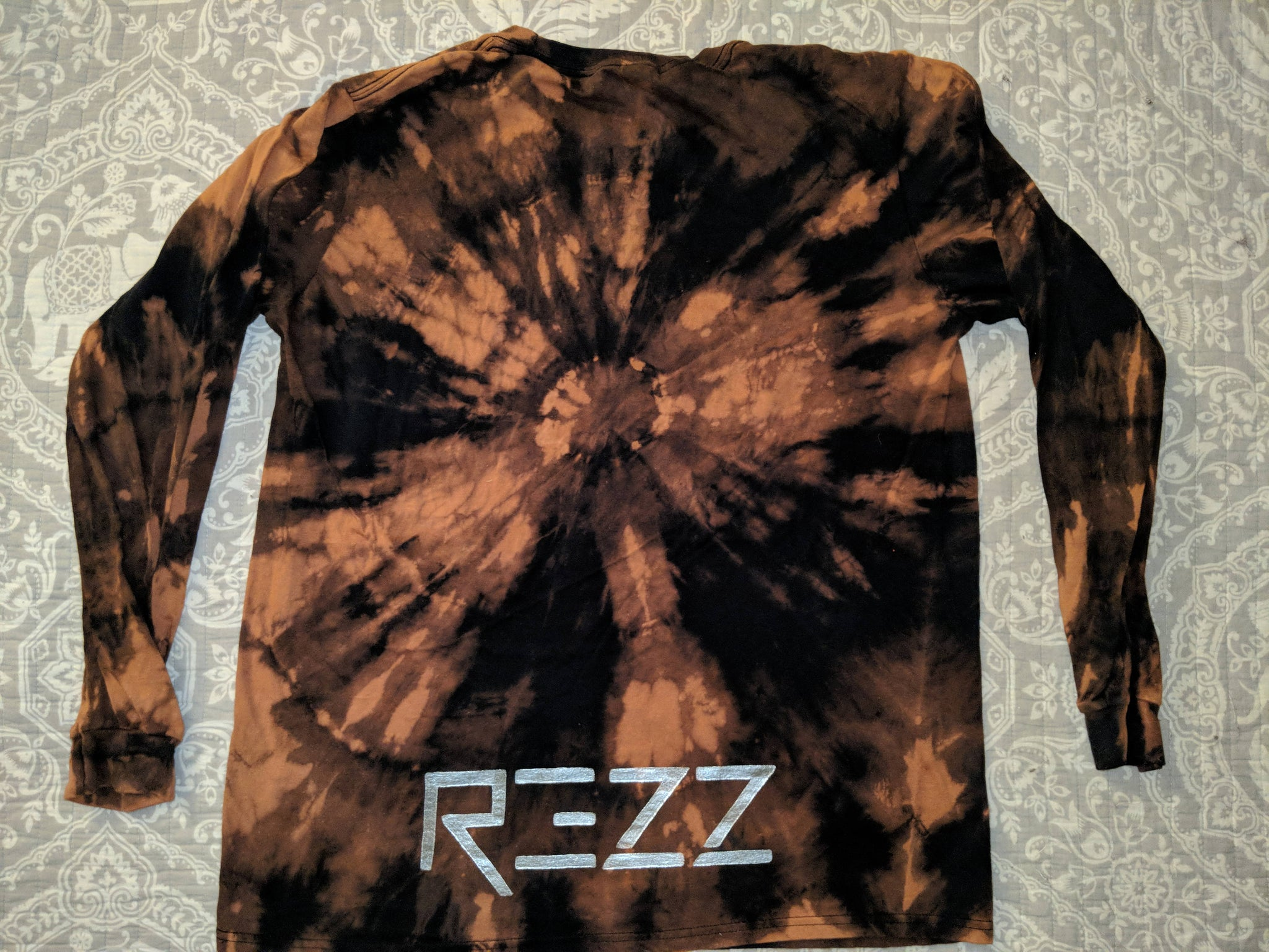 Rezz- Bleached Shirt- Hand & Eye on front, Rezz lower back