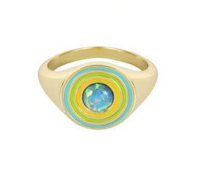 Load image into Gallery viewer, Rainbow Signet Ring - Aqua Opal