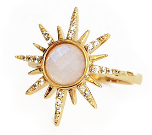 Load image into Gallery viewer, Gemstone Starburst Ring