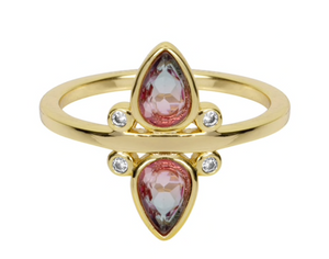 gemstone tear drop ring