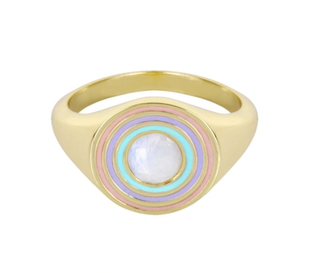 Load image into Gallery viewer, Rainbow Signet Ring- Moonstone