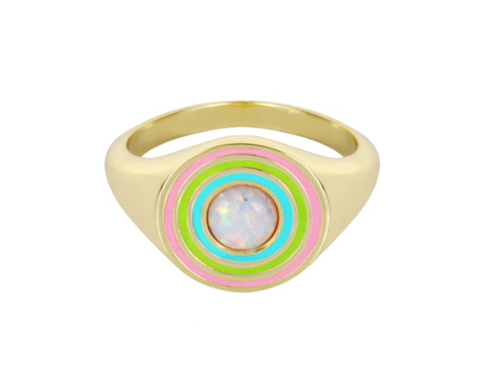 Load image into Gallery viewer, Rainbow Signet Ring- White Opal