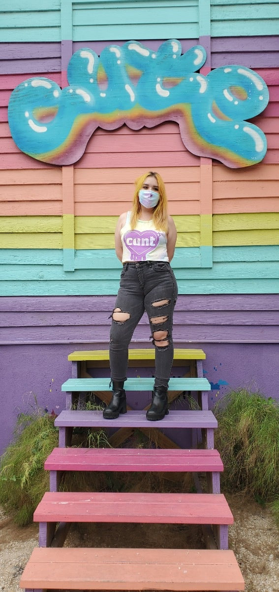 Cunt pastel tie dye crop top & mask
