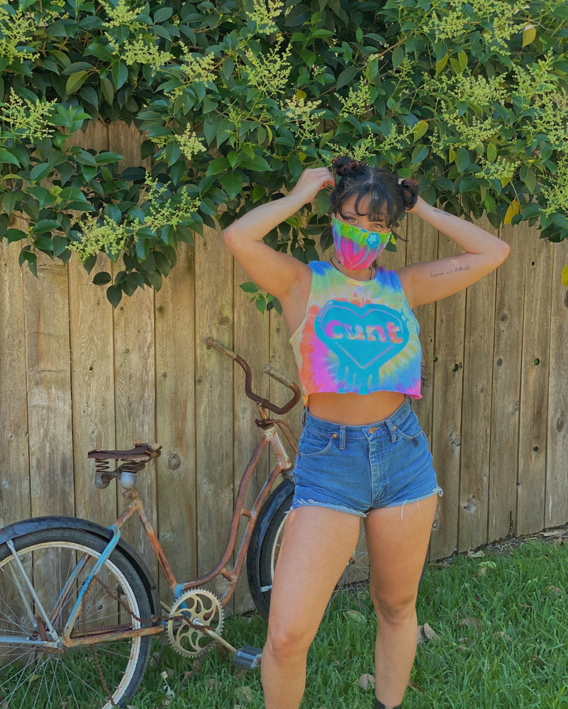 "tie dye ""cunt"" crop top tank and mask set"