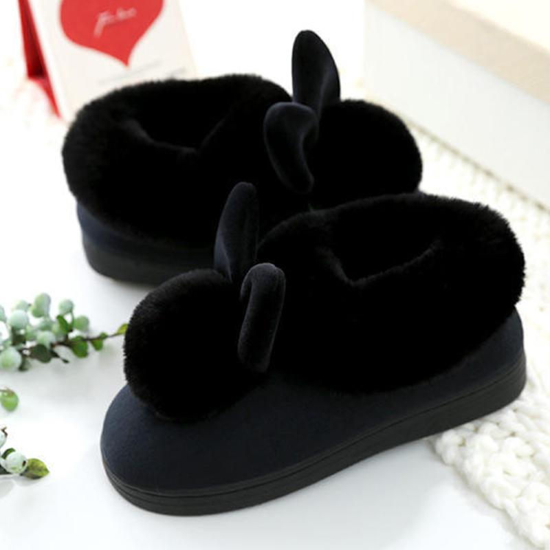 Enteer Chaussons Lapin Fluffy Pantoufles