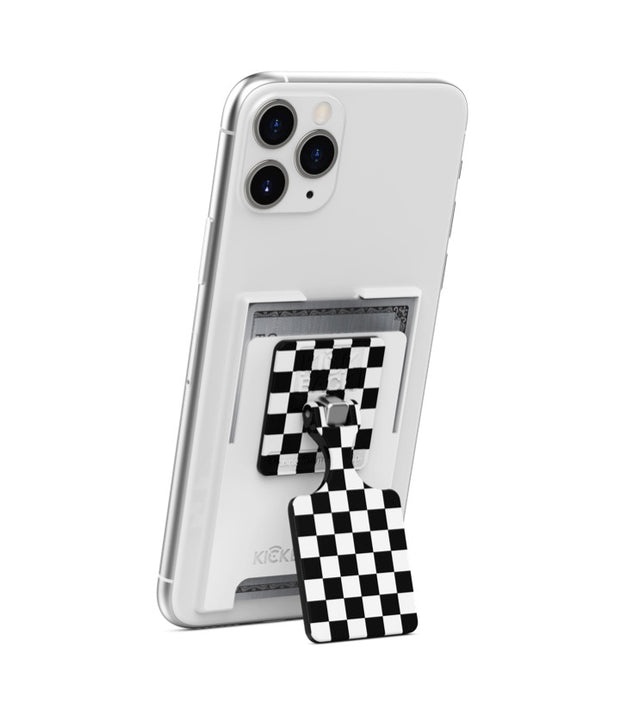 KickBack Phone Stand Wallet (White + Checker)
