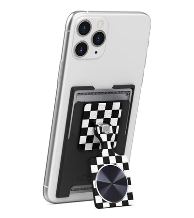 KickBack Phone Stand Wallet - Magnetic Mount Compatible (Black + Checker + Black Metal Plate)