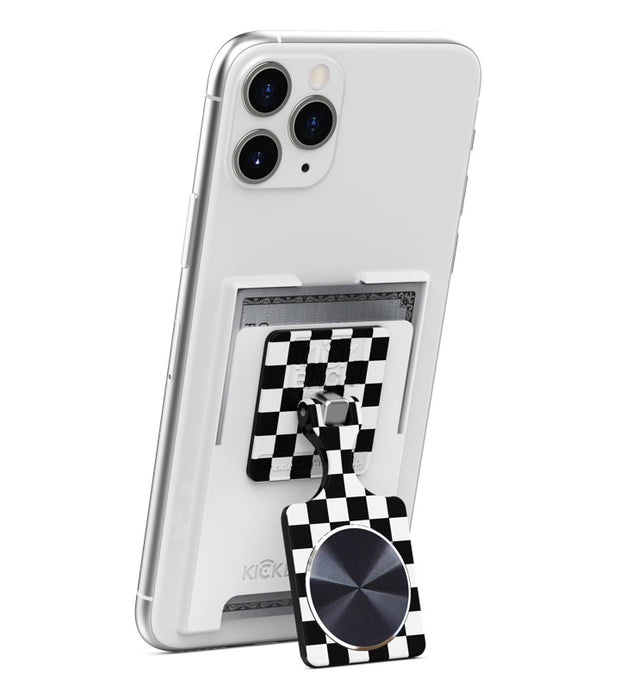 KickBack Phone Stand Wallet - Magnetic Mount Compatible - (White + Checker + Black Metal Plate)