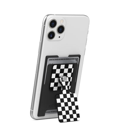 KickBack Phone Stand Wallet (Black + Checker)