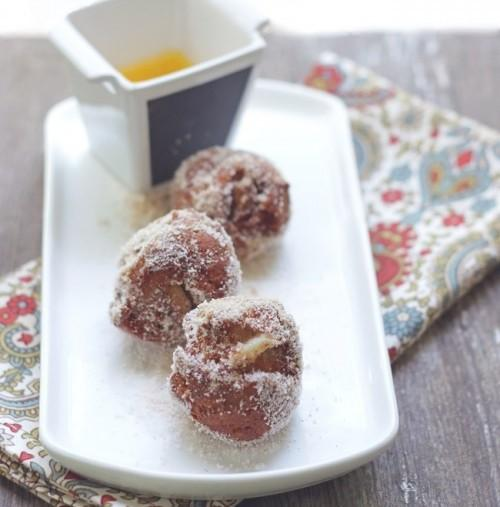 Low Carb Apple Fritters With Maple Bourbon Caramel Sauce