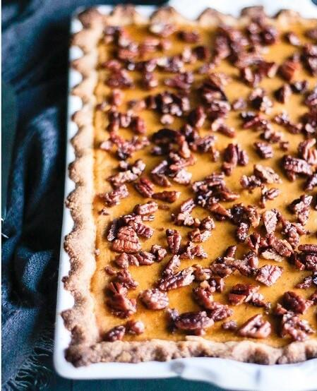 Low Carb Pumpkin Slab Pie with Cardamom Candied Pecan