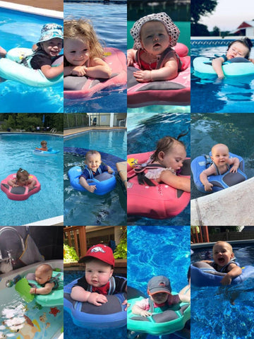 A collage of babies floating on mambo baby swim ring float in swimming pool