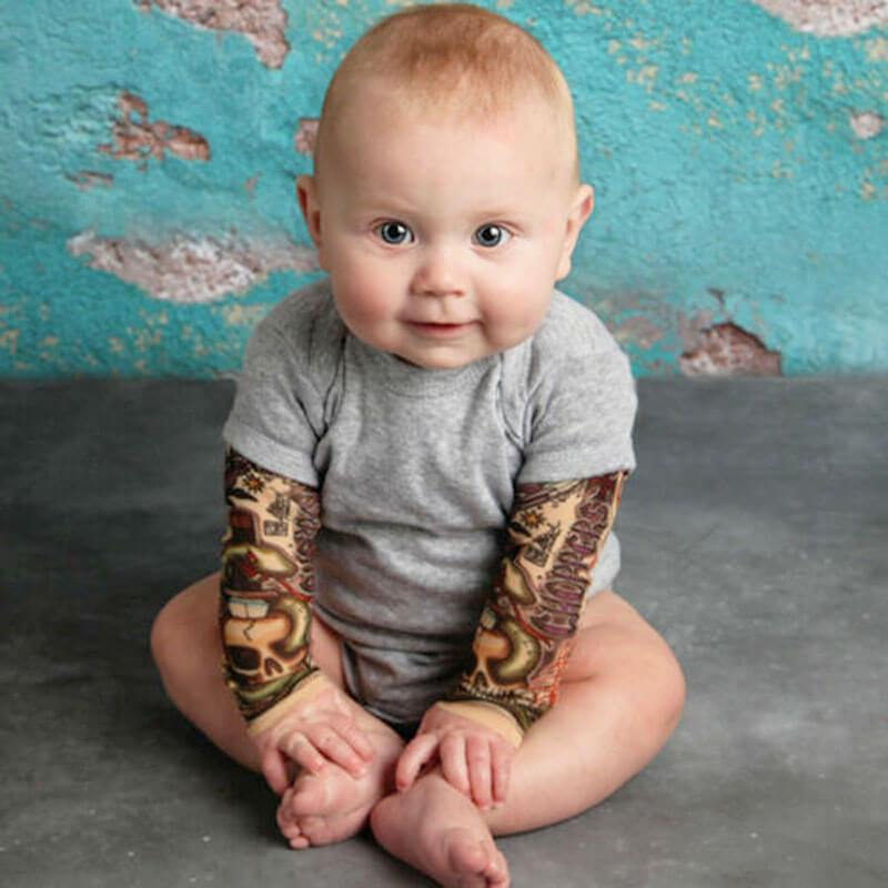 grey tattoo sleeve baby romper