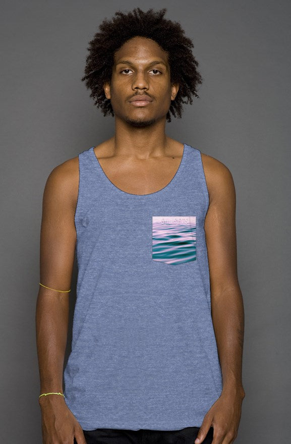Newport Ave Ocean Blue Pocket Tank Ghost Logo