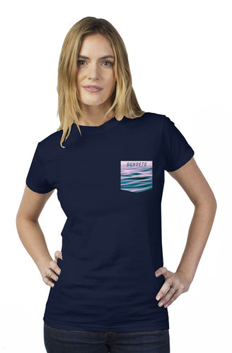 Newport Ave Ladies Navy Pocket T