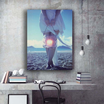 Beautiful Girl With Lantern On Beach LED Light Up Edition Canvas
