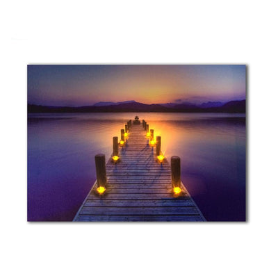 Lake and Beach Scene Flicking LED Light Up Edition Canvas